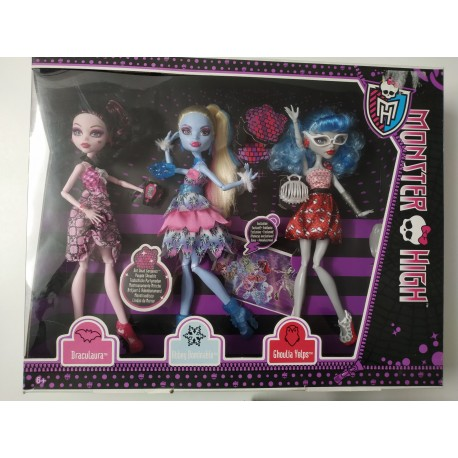Monster High Muñecas Dot Dead Gorgeous pack 3 - NUEVO IMPECABLE