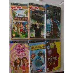 LOTE 6 JUEGOS PSP : LOS SIMS 2, HARRY POTTER, LOCOS POR EL SURF, MIND QUIZ, PATITO FEO,