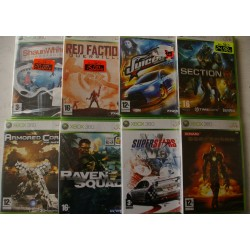 LOTE 8 JUEGOS NUEVOS XBOX 360 : RED FACTION, JUICED 2, SECTION 8, BOMBERMAN, RAVEN SQUAD, SUPERSTARS V8