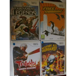 LOTE DE 4 JUEGOS DE NINTENDO Wii : TOURNAMENT LEGENDS, TENCHU, FEE RUNING, DESTROY AL HUMANS - Usados
