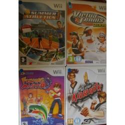 LOTE DE 4 JUEGOS DE Wii : FISHING MASTER, VIRTUA TENNIS, KARATE, SUMMER ATHLETICS : Usados
